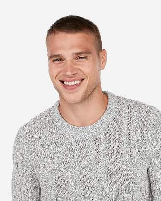 Express Patch Cable Knit Crew Neck Sweater