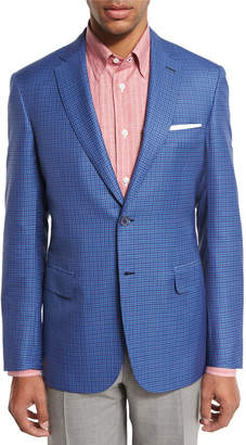 Brioni Check Two-Button Sport Coat, Light Blue/Red