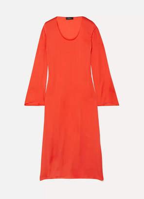 Theory Silk-charmeuse Midi Dress - Tomato red