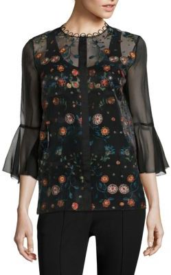 Elie Tahari Rienna Embroidered Organza Blouse $398 thestylecure.com