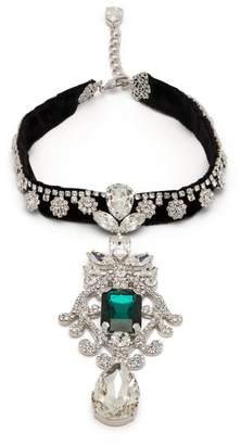Dolce & Gabbana Crystal Embellished Velvet Choker Necklace - Womens - Green