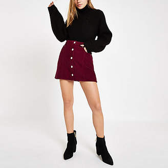 River Island Dark red cord button front mini skirt