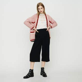 Maje Mid-length cardigan in bicolor wool
