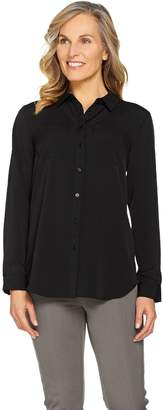 Isaac Mizrahi Live! Woven Button Front Tunic Blouse with Pockets