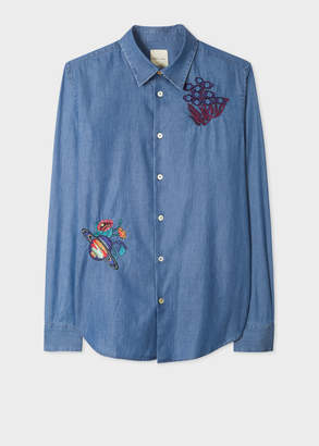 Paul Smith Men's Slim-Fit Blue Chambray Shirt With 'Explorer' Embroidery