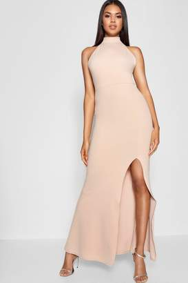 boohoo High Neck Extreme Split Front Maxi Dress