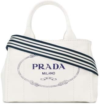 Prada White logo Medium canvas tote bag