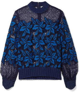 Sea Ribbed Cotton-trimmed Guipure Lace Sweatshirt - Storm blue