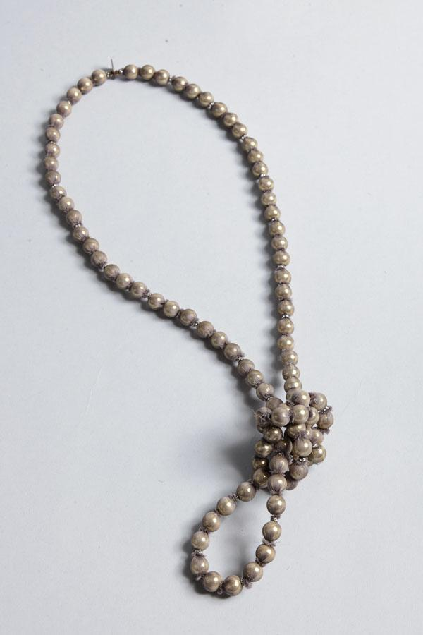 Marie-Laure Chamorel Silk Wrap Beads Necklace In Taupe
