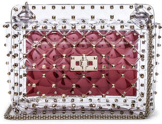 Valentino Medium Rockstud Spike PVC Shoulder Bag in Clear | FWRD