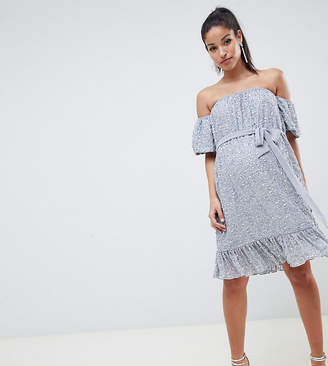 Asos DESIGN Maternity off shoulder embellished mini with tie
