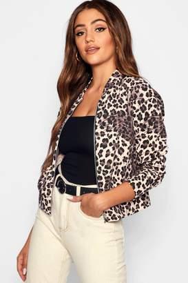 boohoo Leopard Print Bomber Jacket