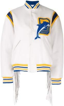 Filles a papa fringed Varsity bomber jacket