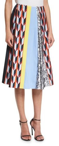 Emilio PucciEmilio Pucci Printed Pleated Midi Skirt, Nero/Multi