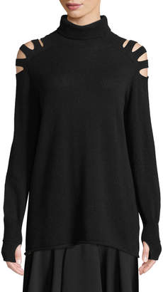 Halston Wool Cutout Turtleneck Sweater