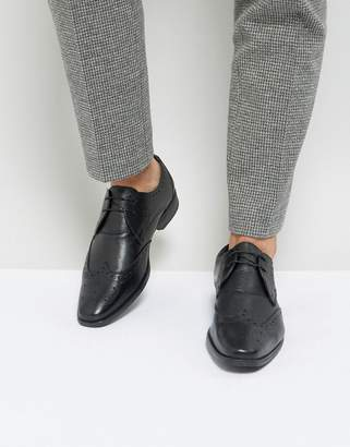 Silver Street Smart Brogues in Milled Black Leather