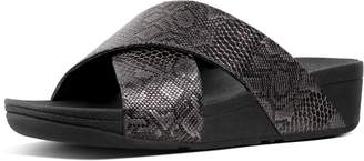 FitFlop Lulu Snake-Print Leather Cross Slides