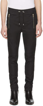 Balmain Black Quilted Drawstring Trousers