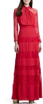 ALICE by Temperley Regalia Lace-Inset Long-Sleeve Gown, Red