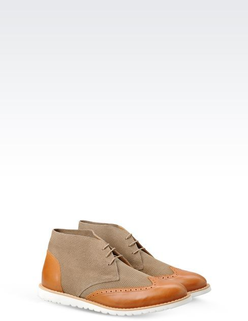 Giorgio Armani Two-Tone Perforated Lace-Up Boot