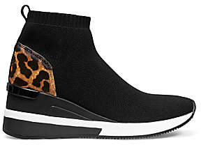 MICHAEL Michael Kors Women's Skylar Leopard-Print Calf Hair & Mixed Media Sneaker Booties