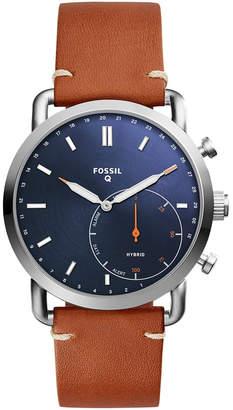 Fossil Q Men Commuter Brown Leather Strap Hybrid Smart Watch 42mm