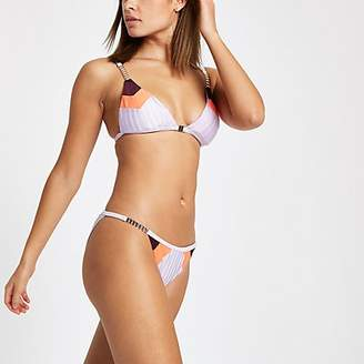 River Island Lilac colour block low rise bikini bottoms