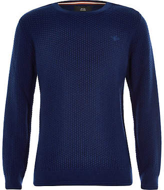 River Island Boys blue knit wasp embroidered sweater
