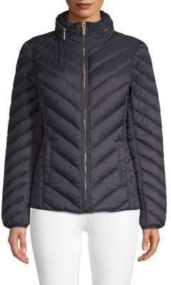 MICHAEL Michael Kors Chevron Hooded Puffer Coat