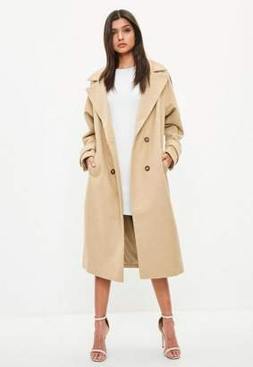 Missguided Camel Double Breasted Faux Wool Coat