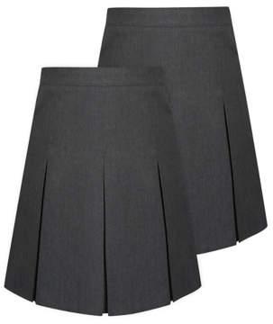George Girls Grey Pleated School Skirt 2 Pack