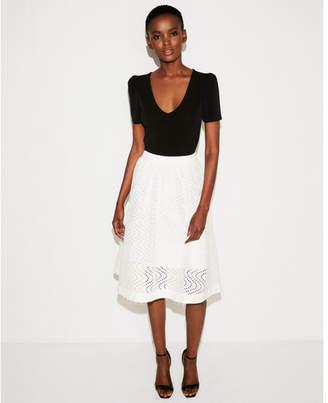 Express eyelet full cotton midi skirt