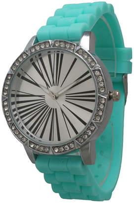 OLIVIA PRATT Olivia Pratt Womens Rhinestone Bezel Roman Numeral Dial Mint Silicon Watch 20369Mint