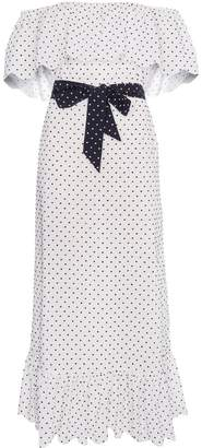 Marysia Swim off shoulder polka dot midi dress