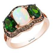 LeVian Le Vian Neopolitan Opal, Pistachio Diopside and 14K Strawberry Gold Solitaire Ring