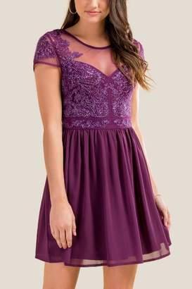 francesca's Sophie Beaded Sweetheart Dress - Purple