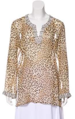 Elizabeth Hurley Embellished Silk Tunic