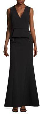 BCBGMAXAZRIA V-Neck Peplum Gown $368 thestylecure.com