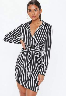 Missguided Black Stripe Tie Waist Shirt Dress
