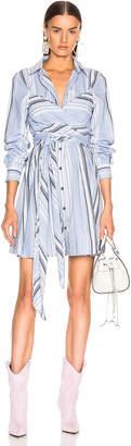 Ganni Light Cotton Stripe Dress in Forever Blue | FWRD