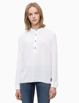Calvin Klein logo patch popover long sleeve tee