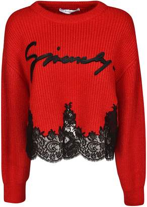 Givenchy Embroidered Logo Laced Sweater