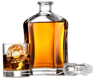 ShopoKus Capitol Glass Decanter with Airtight Geometric Stopper - Whiskey Decanter for Wine, Bourbon, Brandy, Liquor, Juice, Water, Mouthwash | 23.75 oz