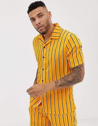 N. Liquor Poker two-piece revere shirt in mustard with stripe