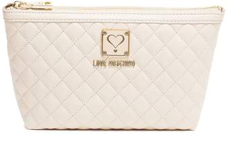 Love Moschino Ivory Quilted Cosmetic Bag