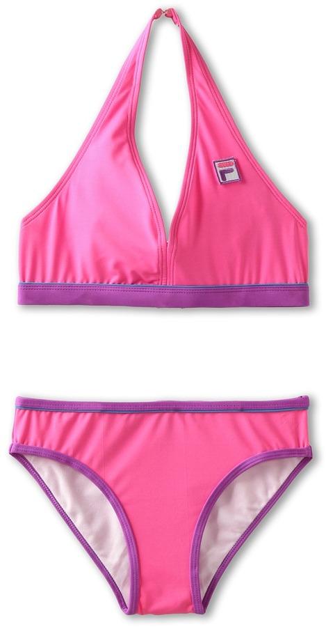 Fila Kids - 2-Piece Color Block Bikini (Big Kids) (Pink) - Apparel