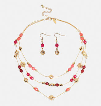 Avenue Burgundy Beaded Necklace and Earring Set