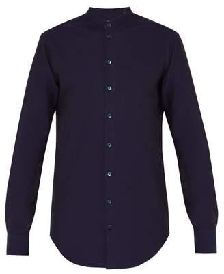 Giorgio Armani Grandad Collar Seersucker Cotton Shirt - Mens - Navy