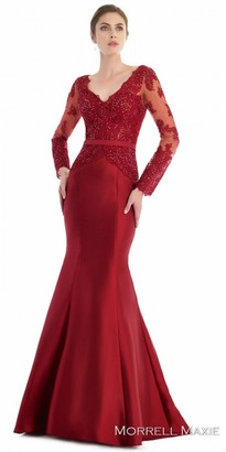 Morrell Maxie Sheer Lace Rhinestone Embellished Trumpet Evening Gown $458 thestylecure.com