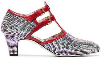 Gucci metallic Mila 55 crystal leather pumps